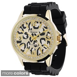 Geneva Women's Animal-Print Dial Platinum Silicone Watch