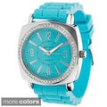 Geneva Women's Platinum Silicone Watch in Bright Colors