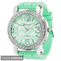 Geneva Women's Platinum Chevron Print Dial Silicone Watch
