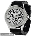 Geneva Women's Platinum Silicoen Watch with Animal-Print Dial