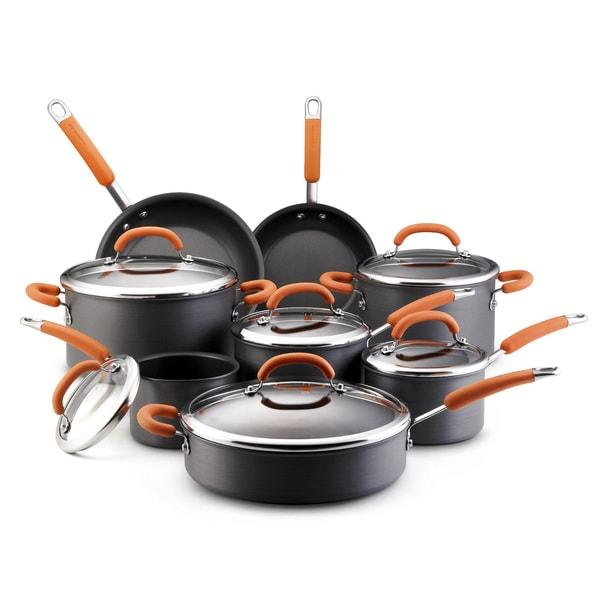 Rachael Ray Hard-anodized Grey 14-piece Cookware Set