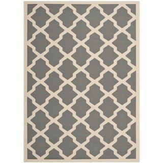 Safavieh Indoor/ Outdoor Courtyard Anthracite/ Beige Rug (5'3 x 7'7)