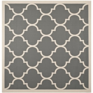 "Easy-to-Maintain Safavieh Indoor/ Outdoor Courtyard Anthracite/ Beige Rug with Contemporary Geometric Pattern (7'10"" Square)"