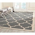 Easy-to-Maintain Safavieh Indoor/ Outdoor Courtyard Anthracite/ Beige Rug with Contemporary Geometric Pattern (7'10