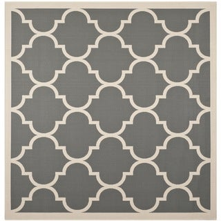 "Safavieh Indoor/Outdoor Courtyard Contemporary Anthracite/Beige Rug (6'7"" Square)"
