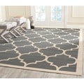 Safavieh Indoor/Outdoor Courtyard Contemporary Anthracite/Beige Rug (6'7