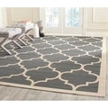 Safavieh Contemporary Indoor/Outdoor Courtyard Anthracite/Beige Rug (9' x 12')