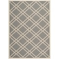 Safavieh Indoor/Outdoor Courtyard Anthracite/Beige Geometric Rug (8' x 11')