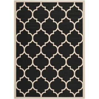 "Safavieh Indoor/Outdoor Courtyard Geometric-Print Black/Beige Rug (6'7"" x 9'6"")"