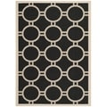 "Contemporary Safavieh Indoor/Outdoor Courtyard Black/Beige Rug (4' x 5'7"")"
