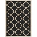 Safavieh Indoor/Outdoor Courtyard Black/Beige Circle-Pattern Rug (8' x 11')