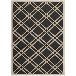 Safavieh Indoor/Outdoor Courtyard Black/Beige Polypropylene Rug (8' x 11')