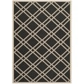 Safavieh Indoor/Outdoor Courtyard Black/Beige Polypropylene Rug (8' x 11')