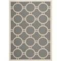 "Safavieh Courtyard Anthracite/Beige Indoor/Outdoor Circle Pattern Rug (5'3"" x 7'7"")"