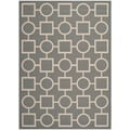 Safavieh Indoor/Outdoor Courtyard Rectangular Anthracite/Beige Rug (8' x 11')