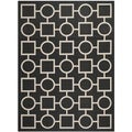 Safavieh Indoor/Outdoor Courtyard Black/Beige Geometric Rug (4' x 5'7