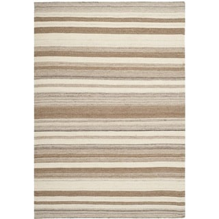 Safavieh Handwoven Moroccan Dhurrie Natural Wool Striped Rug (6' x 9')