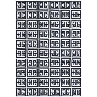 Safavieh Hand-woven Moroccan Reversible Dhurrie Navy Wool Rug (6' x 9')