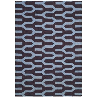 Safavieh Hand-woven Moroccan Reversible Dhurrie Purple Wool Area Rug (6' x 9')