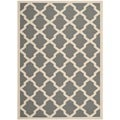 "Safavieh Courtyard Anthracite/Beige Crisscross Pattern Indoor/Outdoor Rug (4' x 5'7"")"