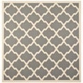 "Timelessly Designed Safavieh Indoor/ Outdoor Courtyard Anthracite/ Beige Polyproplene Area Rug (7'10"" Square)"
