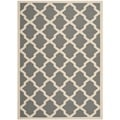 Safavieh Indoor/Outdoor Courtyard Anthracite/Beige Machine-Made Rug (8' x 11')