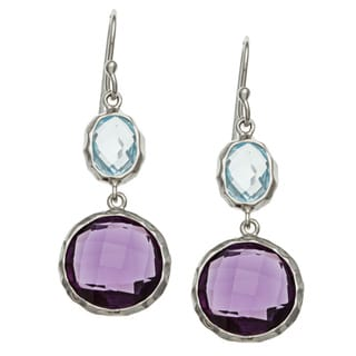La Preciosa Sterling Silver Blue Topaz/ Amethyst Dangle Earrings
