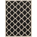 Safavieh Indoor/ Outdoor Courtyard Black/ Beige Rug (6'7 x 9'6)
