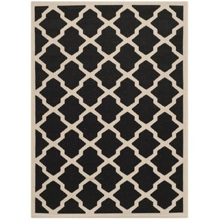 Safavieh Contemporary Indoor/Outdoor Courtyard Black/Beige Rug (8' x 11')
