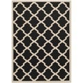 Safavieh Contemporary Indoor/Outdoor Courtyard Black/Beige Rug (8' x 11')