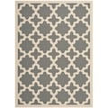 Safavieh Indoor/Outdoor Courtyard Anthracite/Beige Stain-Resistant Rug (8' x 11')
