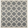 "Safavieh Soft Polyproplene Indoor/ Outdoor Courtyard Anthracite/ Beige Geometric Rug (7'10"" Square)"