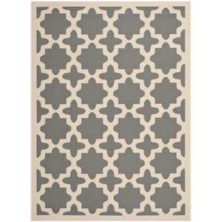 Safavieh Indoor/Outdoor Courtyard Anthracite/Beige Geometric Rug (9' x 12')