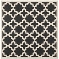 "Safavieh Indoor/Outdoor Courtyard Black/Beige Area Rug (7'10"" Square)"