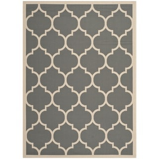 "Safavieh Courtyard Anthracite/Beige Indoor/Outdoor Contemporary Rug (5'3"" x 7'7"")"