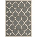 "Safavieh Indoor/Outdoor Courtyard Anthracite/Beige Polypropylene Rug (6'7"" x 9'6"")"