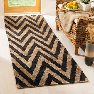 Safavieh Hand-knotted Organic Black/ Natural Wool Rug (2'6 x 8')