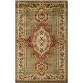 Safavieh Handmade Royalty Green/ Ivory Wool Rug (6' x 9')