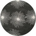 Safavieh Hand-made Soho Burst Charcoal/ Ivory Wool Rug (6' Round)