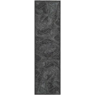 Safavieh Palazzo Black/Gray Over-Dyed Chenille Runner Rug (2' x 7'3)