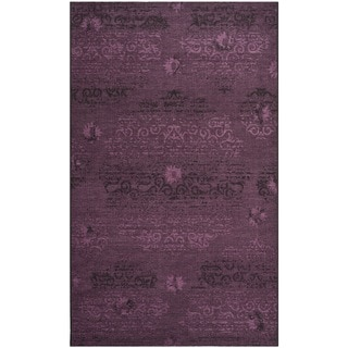 Safavieh Palazzo Black/Purple Oriental Over-Dyed Chenille Rug (4' x 6')