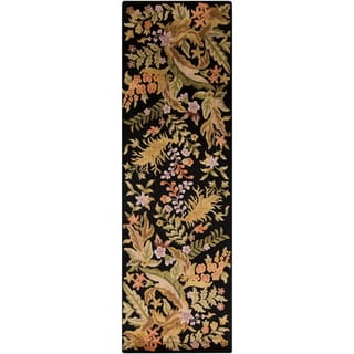 Hand-knotted Baird Black Semi-Worsted New Zealand Wool Contemporary Floral Rug (2'6 x 8)