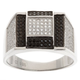 La Preciosa Sterling Silver Men's White and Black Cubic Zirconia Ring