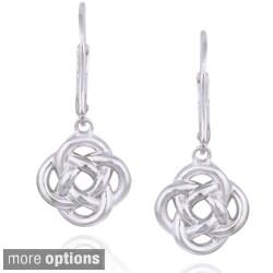 Mondevio Silver Love Knot Flower Dangle Leverback Earrings