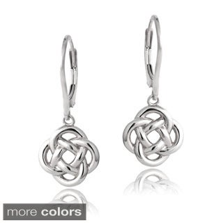 Mondevio Silver Love Knot Flower Dangle Leverback Earrings