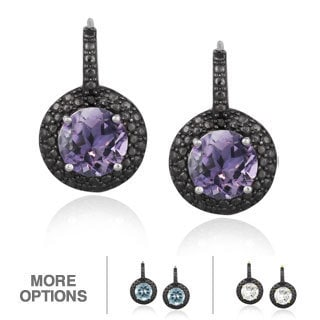 Glitzy Rocks Gold Overlay/ Silver Gemstone and Black Diamond Accent Earrings