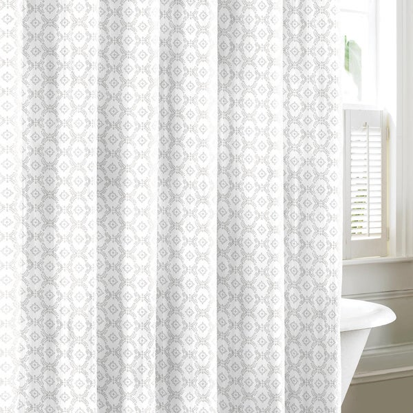 Laura Ashley Venetia Grey Cotton Shower Curtain