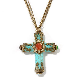 Sweet Romance Bronzetone Turquoise Magnesite Cathedral Cross Necklace
