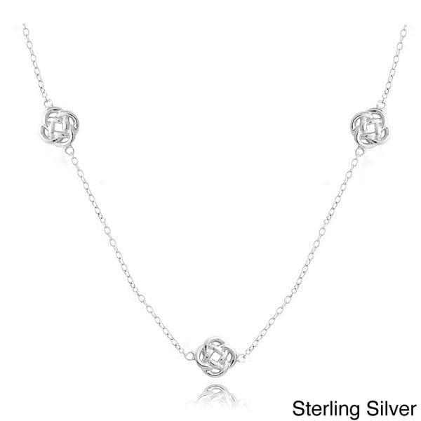 Mondevio Silver Love Knot Flower Chain Necklace