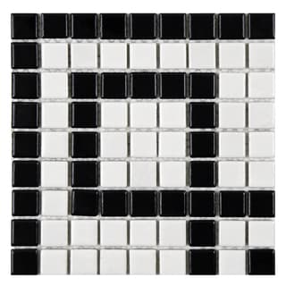 SomerTile 8 x 8-inch Victorian Greek Key Matte White and Black Corner Porcelain Mosaic Tile (Pack of 4)